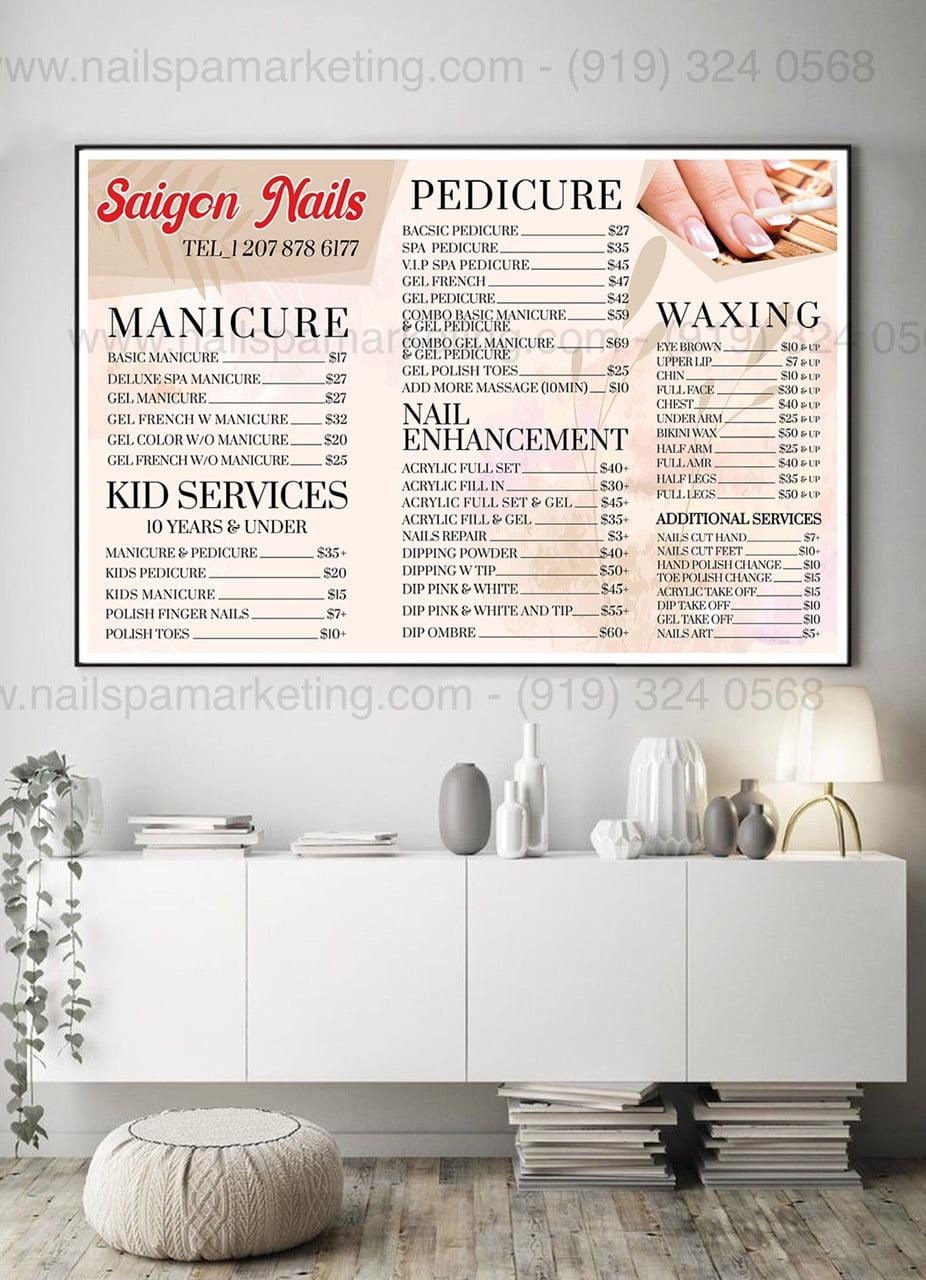 wall menu nail spa salon